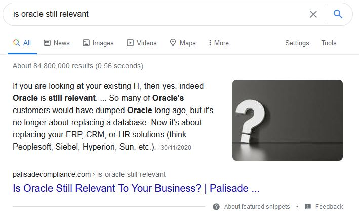is oracle still relevant featured snippet